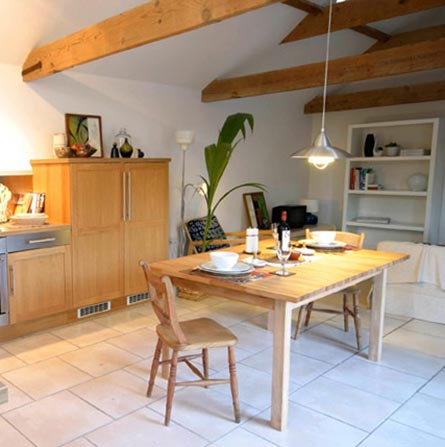 Open plan kitchen and living area at Earlscroft Farm